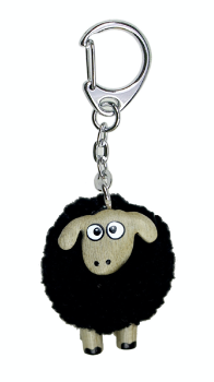 Black Pom Pom Sheep - Keyring