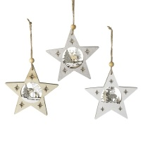 Glittery Star Scene - Grey/Silver - Hanging Decoration