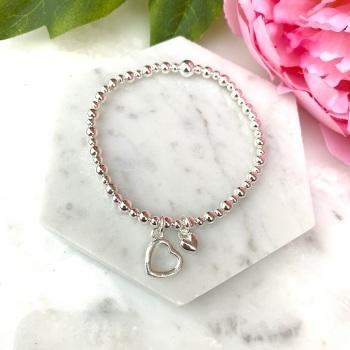 Double Heart Bracelet - Silver