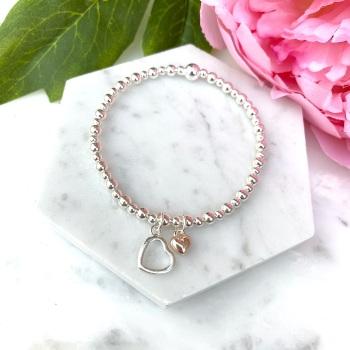 Double Heart Bracelet - Rose Gold