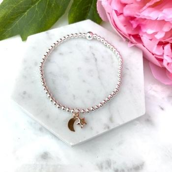 Star & Moon Bracelet - Rose Gold