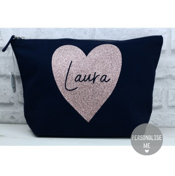 Personalised Heart Bag - Navy