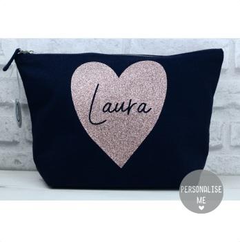 Personalised Heart Bag - Navy