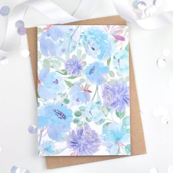 Floral Flourish - Blue - Plain Card