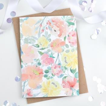 Floral Flourish - Yellow - Plain Card