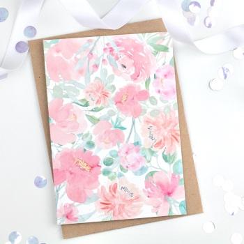 Floral Flourish - Pink - Plain Card