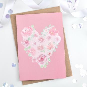 Floral Heart - Pink - Plain Card