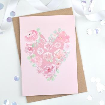 Floral Heart - Light Pink - Plain Card