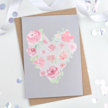 Floral Heart - Grey - Plain Card