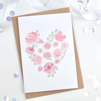 Floral Heart - White - Plain Card