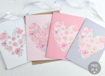 Floral Heart - Plain - Card Pack - 4