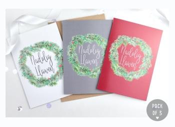 Greenery Wreath - Nadolig Llawen - Card Pack - 3