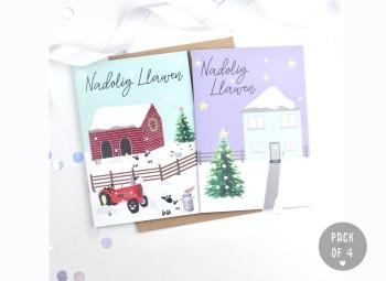 Farm & House - Nadolig Llawen - Card Pack - 4