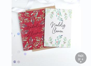 Red & Green - Nadolig Llawen - Card Pack - 4