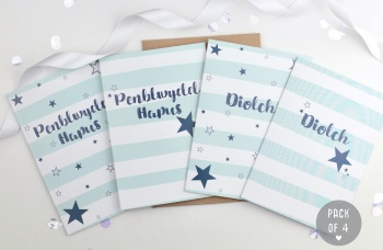 Blue Stripy Mixed - Card Pack - 4