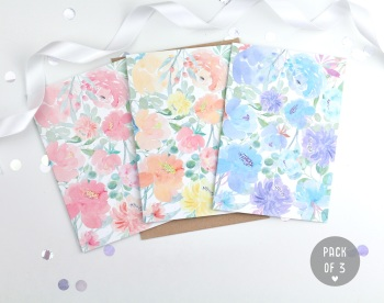 Floral - Plain - Card Pack - 4