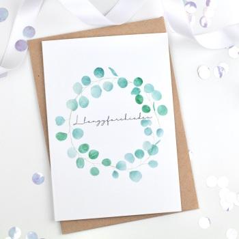 Greenery Wreath - Llongyfarchiadau - Card