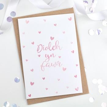 Dotty Hearts - Diolch yn fawr - Card