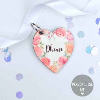 Floral Flourish - Personalised Heart Keyring