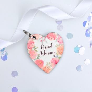 Floral Flourish - Ffrind Arbennig Heart Keyring