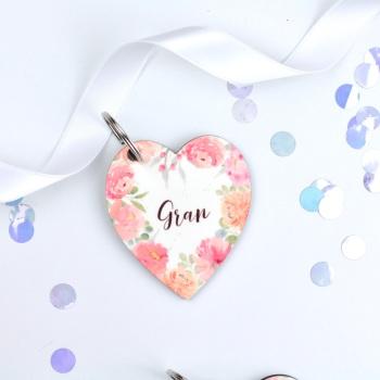 Floral Flourish - Gran -Heart Keyring