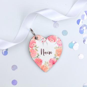Floral Flourish - Nain - Heart Keyring