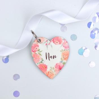 Floral Flourish - Nan -Heart Keyring