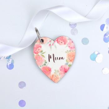 Floral Flourish - Mum - Heart Keyring