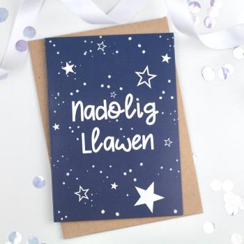 Navy Starry - Nadolig Llawen - Card