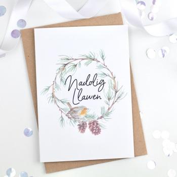 Robin Wreath - Nadolig Llawen - Card