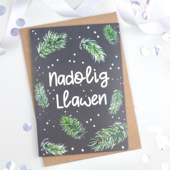 Grey - Greenery Sprigs - Nadolig Llawen - Card
