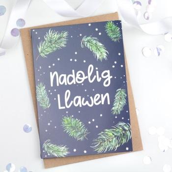 Navy - Greenery Sprigs - Nadolig Llawen - Card