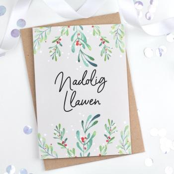 Classic Green - Nadolig Llawen - Card