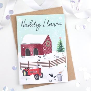 Christmas Farm Scene - Nadolig Llawen - Card