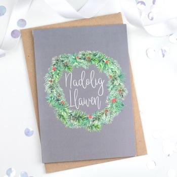 Grey Wreath - Nadolig Llawen - Card