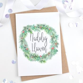 Wreath - Nadolig Llawen - Card