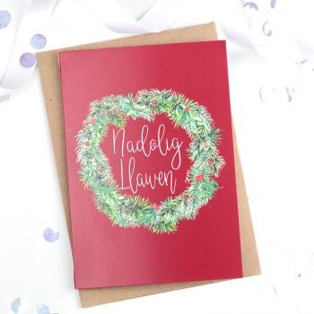 Red Wreath - Nadolig Llawen - Card