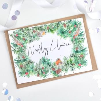 Greenery Wreath - Nadolig Llawen - Card