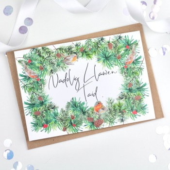 Greenery Wreath - Nadolig Llawen Taid - Card