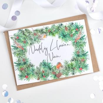 Greenery Wreath - Nadolig Llawen Nain - Card