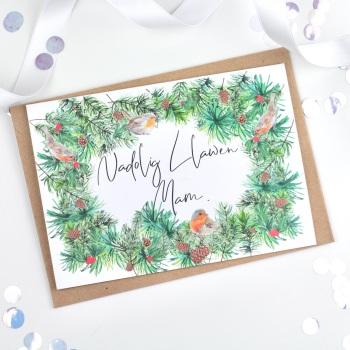 Greenery Wreath - Nadolig Llawen Mam - Card