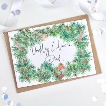 Greenery Wreath - Nadolig Llawen Dad - Card