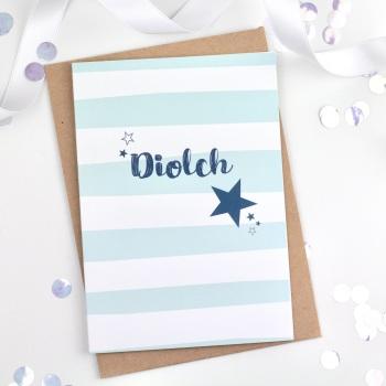 Blue Stripe - Diolch - Card