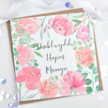 Floral Flourish - Penblwydd Hapus Mamgu - Card