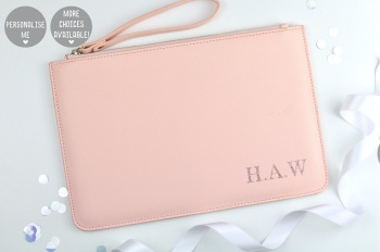Personalised Initial Clutch/Pouch Bag - Pink