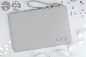 Personalised Initial Clutch/Pouch Bag - Grey