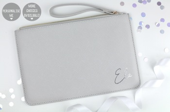 Personalised Clutch/Pouch Bag - Grey