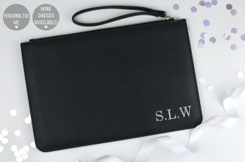 Personalised Initial Clutch/Pouch Bag - Black