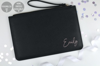 Personalised Clutch/Pouch Bag - Black