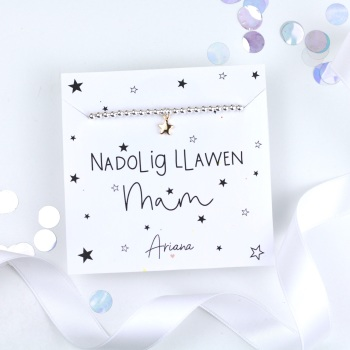 Nadolig Llawen Mam - Silver Stretch Bracelet - Various Choice